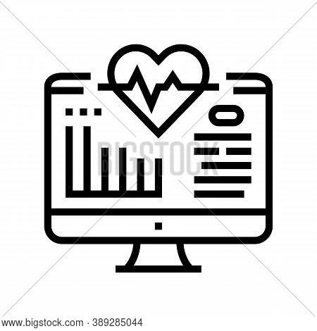 Computer Heart Cardio Line Icon Vector. Computer Heart Cardio Sign. Isolated Contour Symbol Black Il