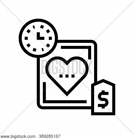 Heart Transplant Price And Time Line Icon Vector. Heart Transplant Price And Time Sign. Isolated Con