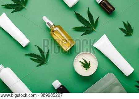 Hemp Cbd Oil Serum In Glass Dropper Bottle With Cannabis Leaves, Moisturizing Cream, Serum, Lotion,