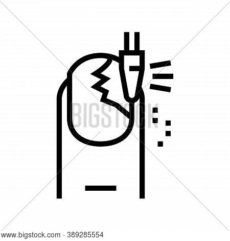Nail Grinding Line Icon Vector. Nail Grinding Sign. Isolated Contour Symbol Black Illustration