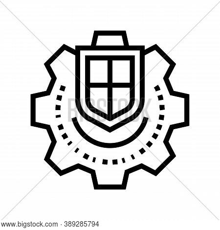 Mechanism Protection Line Icon Vector. Mechanism Protection Sign. Isolated Contour Symbol Black Illu