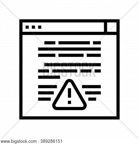 Web Site With Virus Line Icon Vector. Web Site With Virus Sign. Isolated Contour Symbol Black Illust