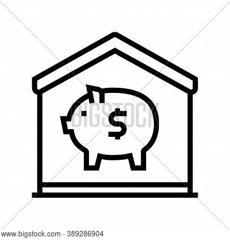 Finance Pig Money Box At Home Line Icon Vector. Finance Pig Money Box At Home Sign. Isolated Contour