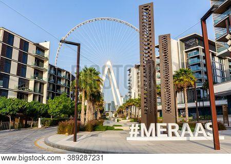 Dubai, Uae. 06/09/20. Bluewaters By Meraas, New Artificial Island In Dubai, With Dubai Eye Ferris Wh
