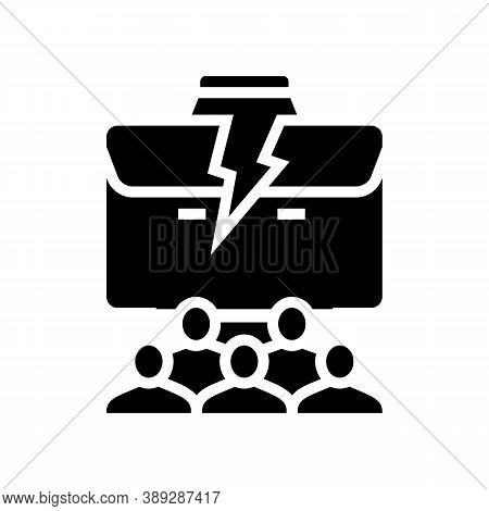People Lost Job Glyph Icon Vector. People Lost Job Sign. Isolated Contour Symbol Black Illustration