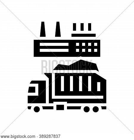 Garbage Truck And Plant Glyph Icon Vector. Garbage Truck And Plant Sign. Isolated Contour Symbol Bla