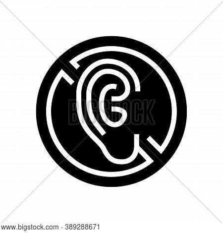 Deaf Sign Glyph Icon Vector. Deaf Sign Sign. Isolated Contour Symbol Black Illustration