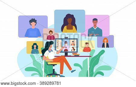 Video Conference. Woman At Desk Provides Collective Virtual Chat Using Computer. Online Business Mee