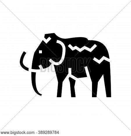 Mammoth Animal Glyph Icon Vector. Mammoth Animal Sign. Isolated Contour Symbol Black Illustration