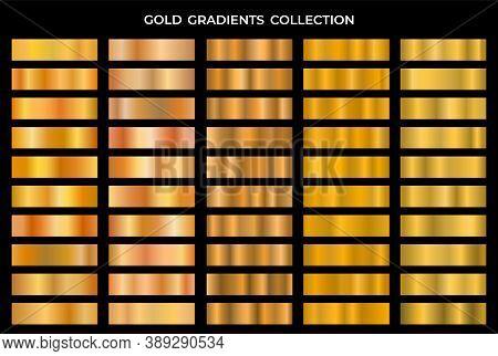 Collection Of Gold And Bronze Gradients. Golden Texture Gradation Background Set. Vector Metallic Gr
