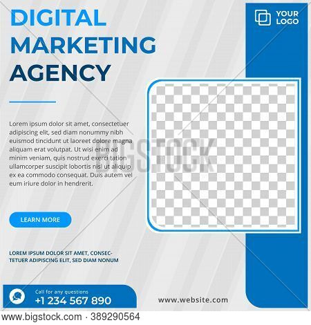 Digital Business Marketing Social Media Post Template For Instagram And Facebook. White And Blue Edi