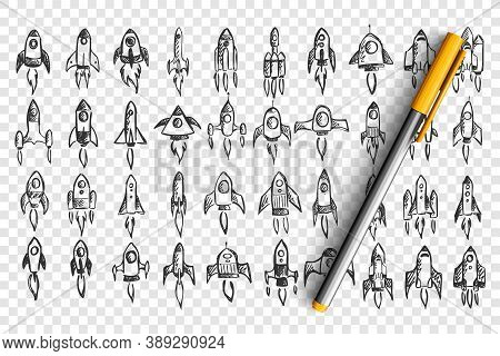 Rockets Doodle Set. Collection Of Hand Drawn Pencil Sketches Template Patterns Of Spaceships In Cosm