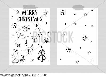 Hand Drawn Vector Card. Seamless Pattern Vector Illustration. Cozy Rustic Merry Christmas Pattern. S