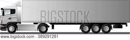 An Image Of A Modern European Truck With A Semi-trailer. Flat Style Line Art Illustration. Side View