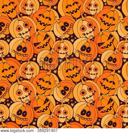 Seamless Happy Halloween Pattern With Scary Orange Pumpkins On Dark Background. Holiday Background W
