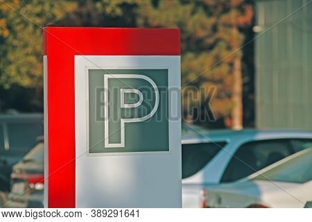 Parking Sign. Symbol On A Cars And Tree Background. Street Sign For Permission To Park Vehicles.