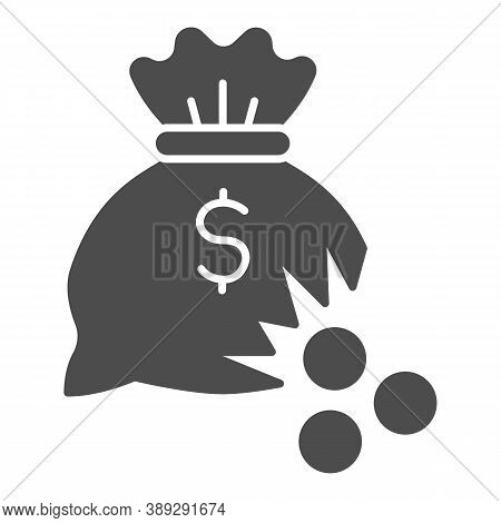 Bag Of Money With Hole And Coins Solid Icon, Financial Problem Concept, Leaking Coins From Torn Mone