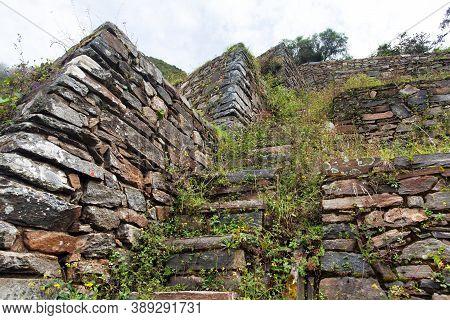 Choquequirao, One Of The Best Inca Ruins In Peru. Choquequirao Inca Trekking Trail Near Machu Picchu