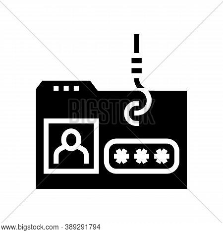 Hacking User Folder Glyph Icon Vector. Hacking User Folder Sign. Isolated Contour Symbol Black Illus