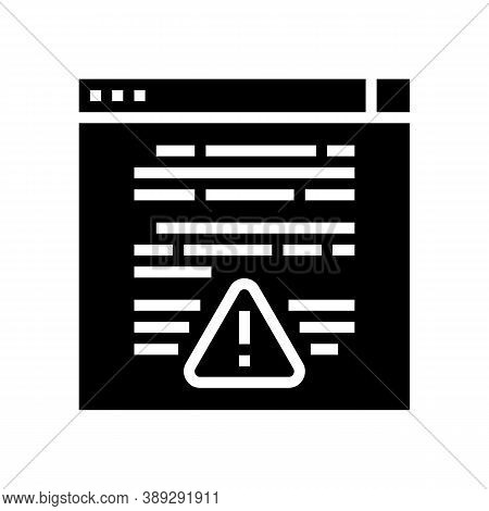 Web Site With Virus Glyph Icon Vector. Web Site With Virus Sign. Isolated Contour Symbol Black Illus