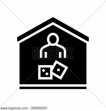 Play Game At Home Glyph Icon Vector. Play Game At Home Sign. Isolated Contour Symbol Black Illustrat
