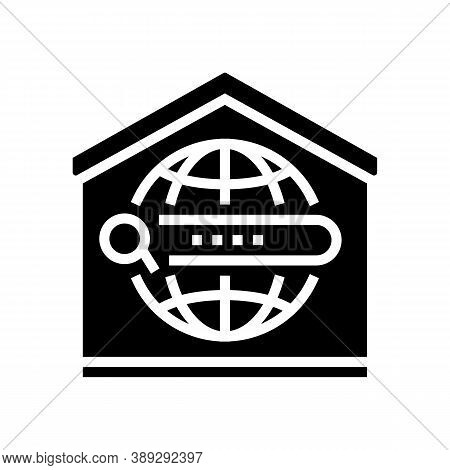 Search Web Site At Home Glyph Icon Vector. Search Web Site At Home Sign. Isolated Contour Symbol Bla