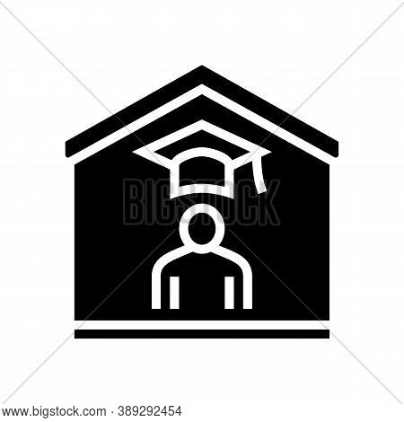 Home Education Glyph Icon Vector. Home Education Sign. Isolated Contour Symbol Black Illustration