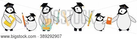 Cute Vector Border With Kawaii Penguin Chicks In Scholar Hat With Pencils, Notebooks On White Backdr