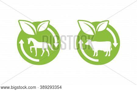 Manure Icon - Cow Manure And Horse Manure Fertilzers Stamp - Emblem With Renewable (recycling) Arrow