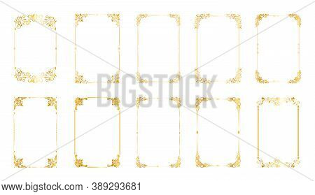 Set Of Decorative Vintage Frames And Borders Set,gold Photo Frame. Retro Ornamental Frame, Vintage R