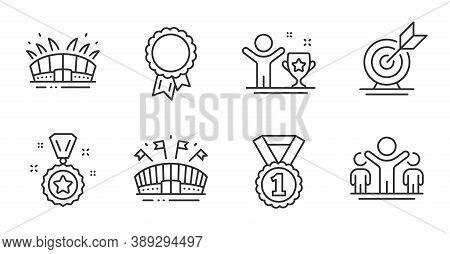Winner Cup, Winner Reward And Best Rank Line Icons Set. Sports Arena, Arena Stadium And Target Goal