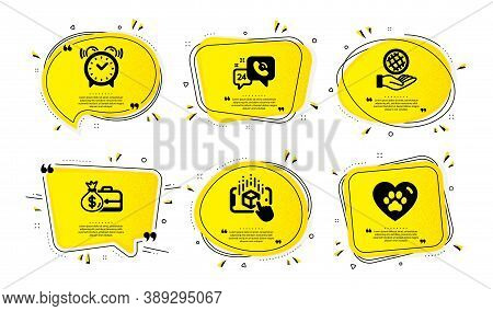 Salary, Alarm Clock And Augmented Reality Icons Simple Set. Yellow Speech Bubbles With Dotwork Effec