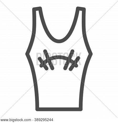 Athlete Jersey Line Icon, Gym Concept, Sportswear For Gym Sign On White Background, Tank Top With Ba