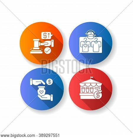 Retail Services Flat Design Long Shadow Glyph Icons Set. Auction, Second Hand Store, Handicraft Mark