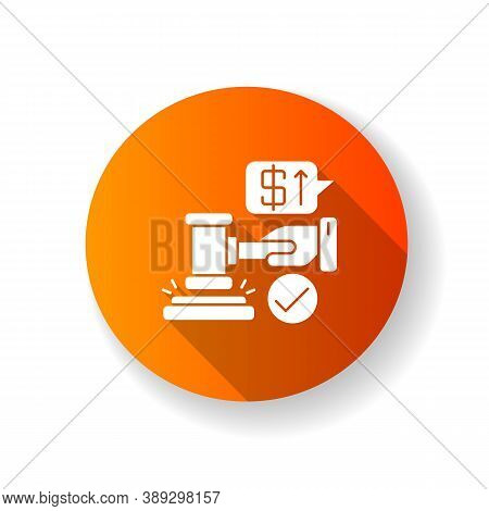 Auction Orange Flat Design Long Shadow Glyph Icon. Competitive Trading Event, Public Sale Of Valuabl