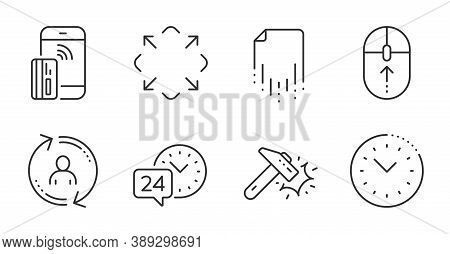 Maximize, 24h Service And Time Management Line Icons Set. Hammer Blow, User Info And Swipe Up Signs.