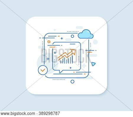 Chart Line Icon. Abstract Vector Button. Report Graph Or Sales Growth Sign. Analysis And Statistics