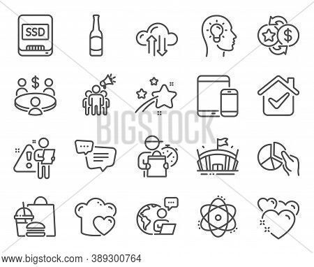 Business Icons Set. Included Icon As Brand Ambassador, Heart, Arena Signs. Ssd, Atom, Loyalty Points