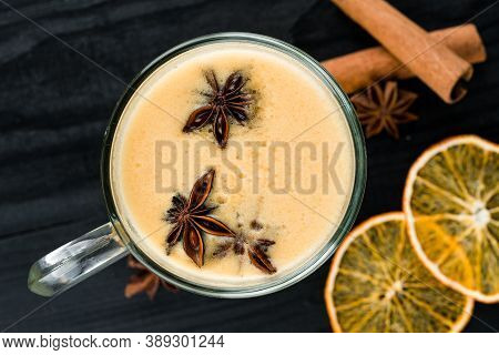 Traditional Hot Toddy Winter Drink With Recipe. Healthy Organic Homemade Holiday Celebration Beverag