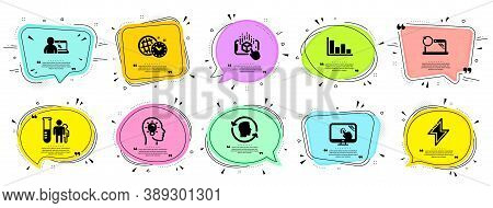 Science Icons Set. Speech Bubble Offer Banners. Vector Coupon Badge. Included Icon As Touch Screen,