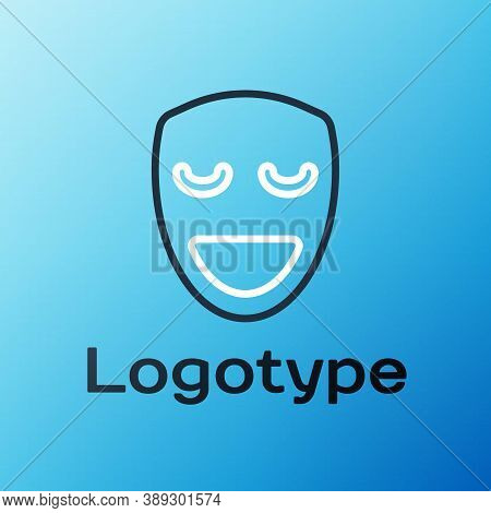 Line Comedy Theatrical Mask Icon Isolated On Blue Background. Colorful Outline Concept. Vector