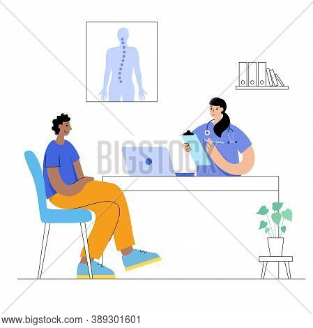Spine Care Center, Clinic Vector. Chiropractic Doctor Appointment And Consult. Patient Visits Medica