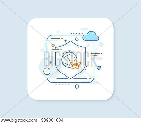 Vip Timer Line Icon. Abstract Vector Button. Very Important Person Sign. Member Club Privilege Symbo