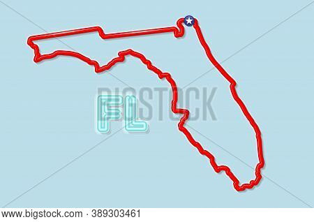 Florida Us State Bold Outline Map. Glossy Red Border With Soft Shadow. Two Letter State Abbreviation