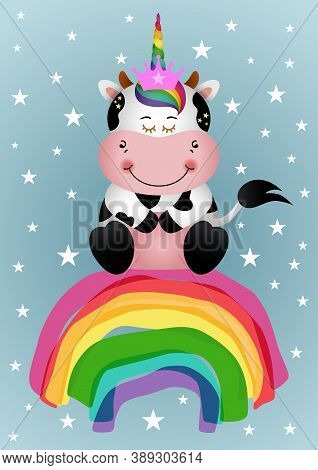 Scalable Vectorial Representing A Greeting Card With Unicorn Cow Sitting On Rainbow, Element For You