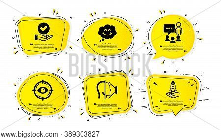 Smile, Eye Target And Approved Checkbox Icons Simple Set. Yellow Speech Bubbles With Dotwork Effect.