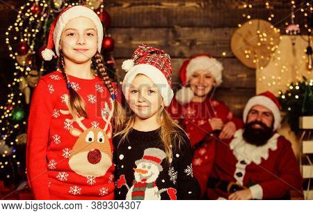 Cute Sisters And Parents Celebrate Christmas At Home. Family Spread Love And Happiness. Adorable Fam