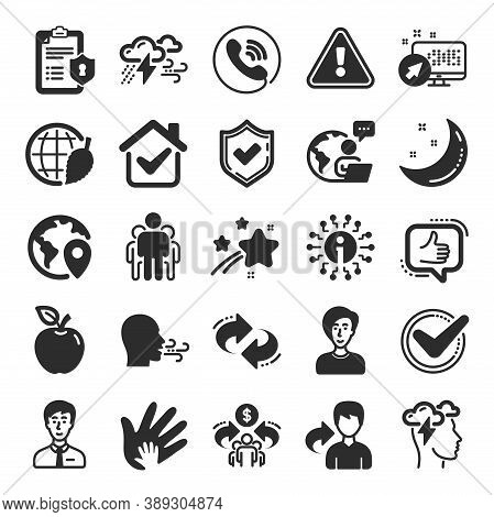 Check Mark, Sharing Economy And Mindfulness Stress, Breath People Icons. Privacy Policy, Social Resp