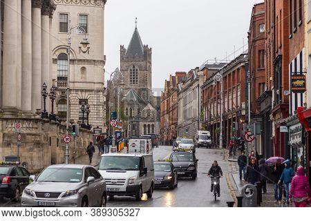 Dublin, Ireland- 09 November 2015: Popular Historical Part Of The City - Temple Bar Quarter In Dubli