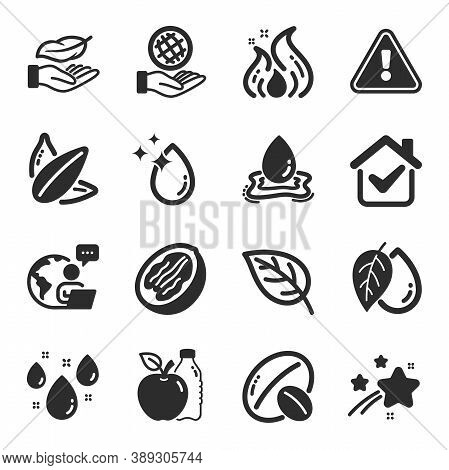 Set Of Nature Icons, Such As Rainy Weather, Water Splash, Apple Symbols. Leaf, Soy Nut, Water Drop S